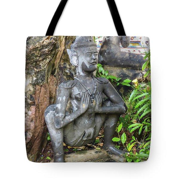 Statue Depicting A Thai Yoga Pose At Wat Pho Temple Tote Bag