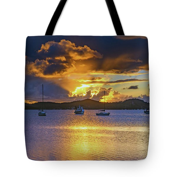 Sunrise Waterscape With Clouds And Boats Tote Bag