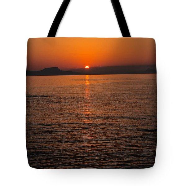Sunset Over Crete Tote Bag by David Warrington