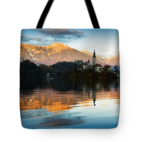 Tote Bag featuring the photograph Sunset Over Lake Bled by Ian Middleton