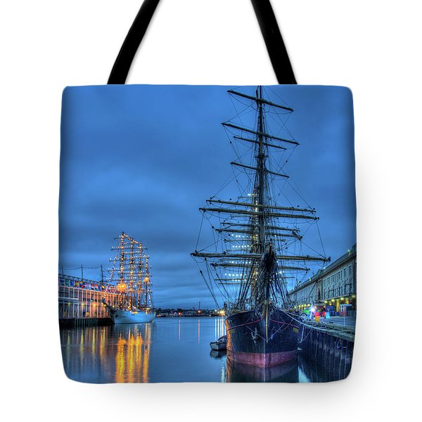 Tote Bag featuring the photograph Tall Ships On Boston Harbor - Fish Pier by Joann Vitali
