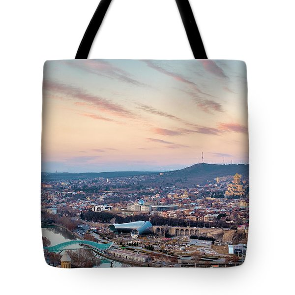 Tote Bag featuring the photograph View Of Tbilisi by Fabrizio Troiani