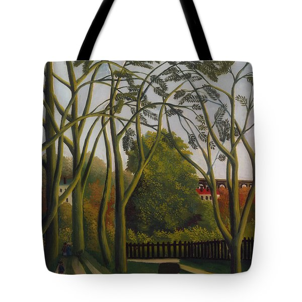 Tote Bag featuring the painting The Banks Of The Bievre Near Bicetre by Henri Rousseau
