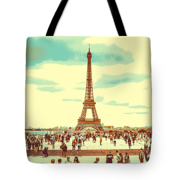 Tote Bag featuring the pyrography The Eiffel Tower by Artistic Panda