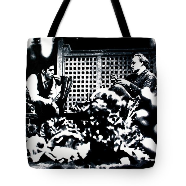 Tote Bag featuring the painting The Godfather by Luis Ludzska