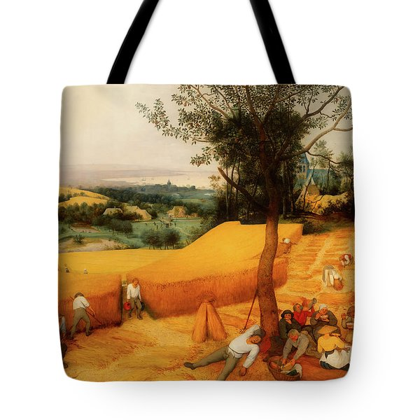Tote Bag featuring the painting The Harvesters by Pieter Bruegel The Elder