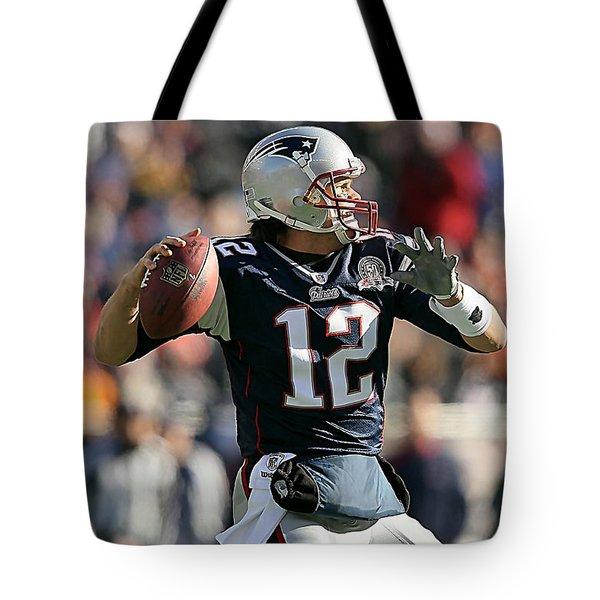 Tom Brady Tote Bag by Marvin Blaine