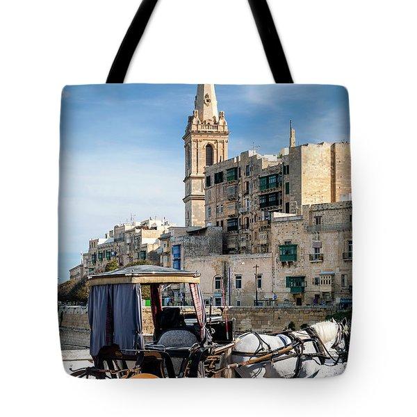 Tourist Horse Carriage In Old Town Street La Valletta Malta Tote Bag