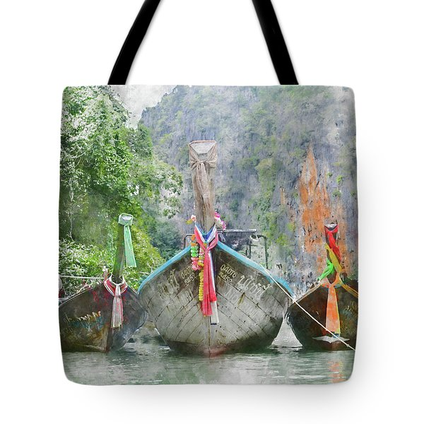 Traditional Long Boat In Thailand Tote Bag