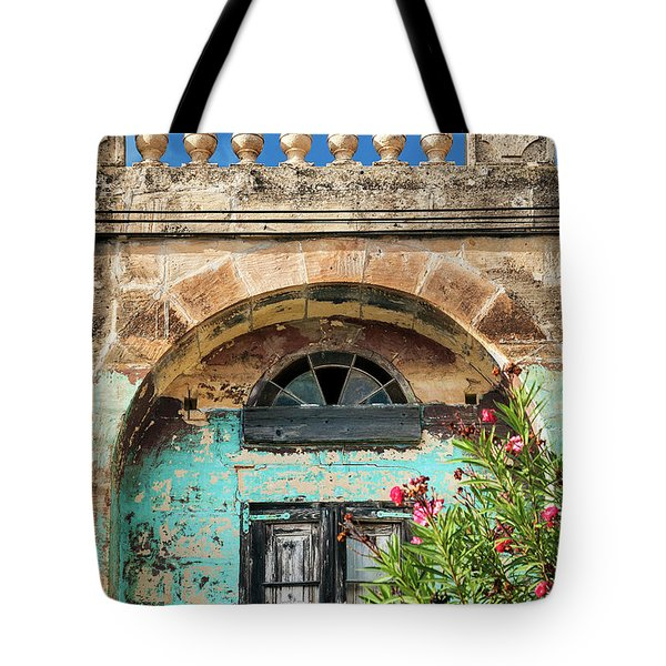 Traditional Mediterranean Maltese House Exterior Detail In Gozo  Tote Bag