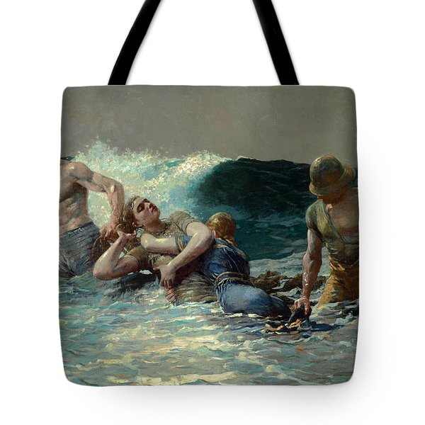 Tote Bag featuring the painting Undertow by Winslow Homer