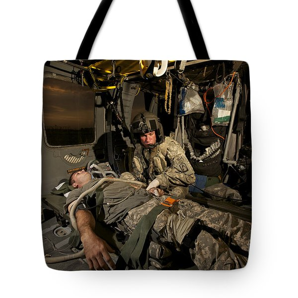 U.s. Army Specialist Practices Giving Tote Bag by Terry Moore
