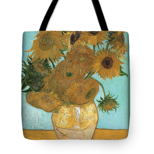 Tote Bag featuring the painting Vase With Twelve Sunflowers by Vincent Van Gogh