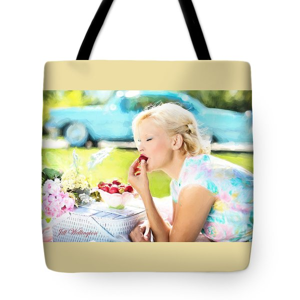 Vintage Val In The Turquoise Vintage Car Tote Bag