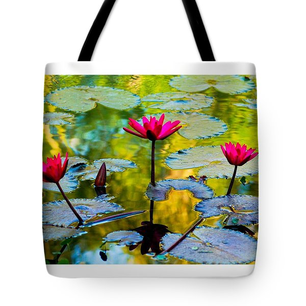 3 Water Lilys Tote Bag
