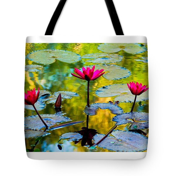 3 Water Lilys Tote Bag