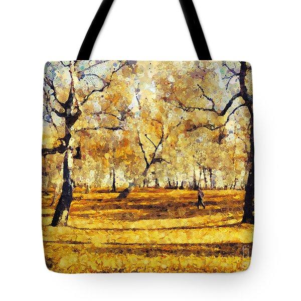 Watercolor Landscape Autumn Painting Forest Tote Bag