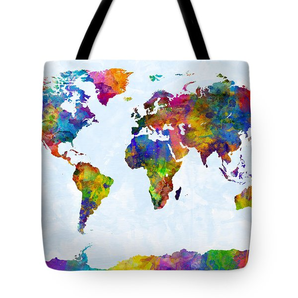 Watercolor Map Of The World Map Tote Bag