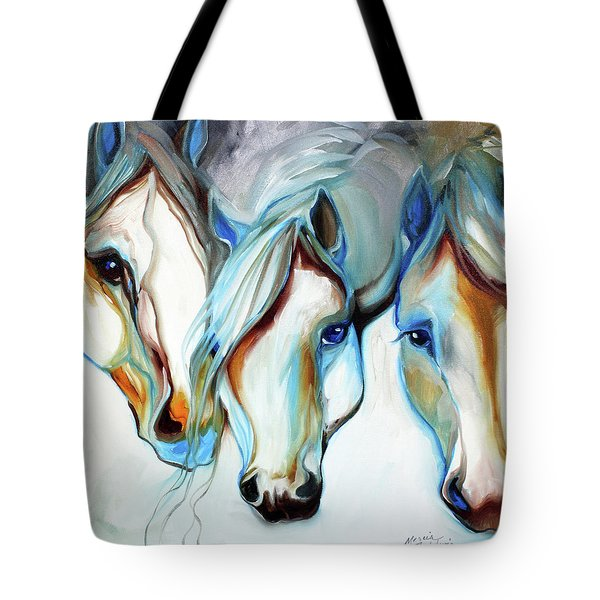 3 Wild Horses In Abstract Tote Bag