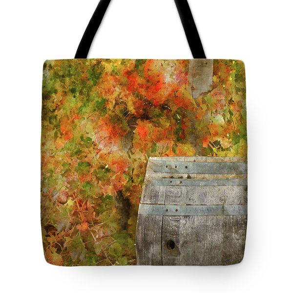 Wine Barrel In Autumn Tote Bag