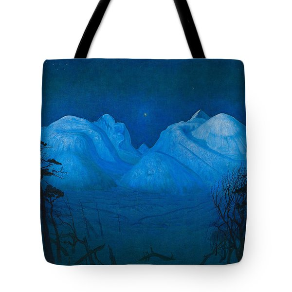 Winter Night In The Mountains Tote Bag