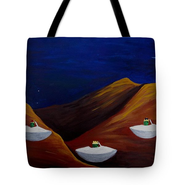 Tote Bag featuring the painting 3 Wise Guys by Lola Connelly