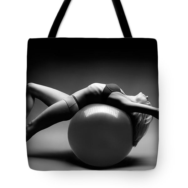 Woman On A Ball Tote Bag