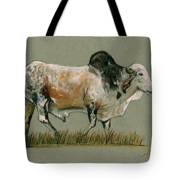 Zebu Cattle Art Painting Tote Bag by Juan  Bosco