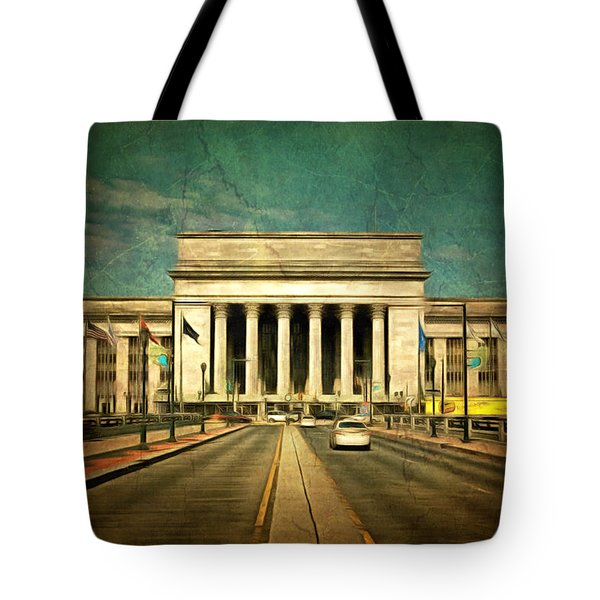 Tote Bag featuring the mixed media 30th Street Station Traffic by Trish Tritz
