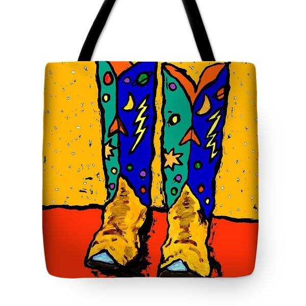 30x36  Boots On Yellow Tote Bag