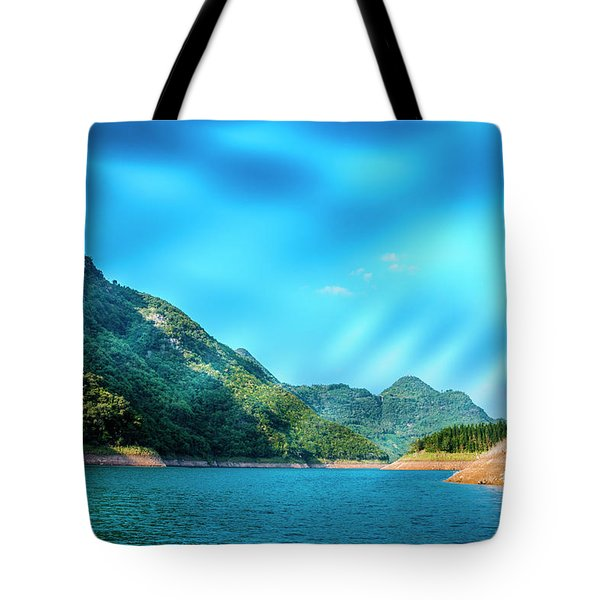 The Mountains And Reservoir Scenery With Blue Sky Tote Bag