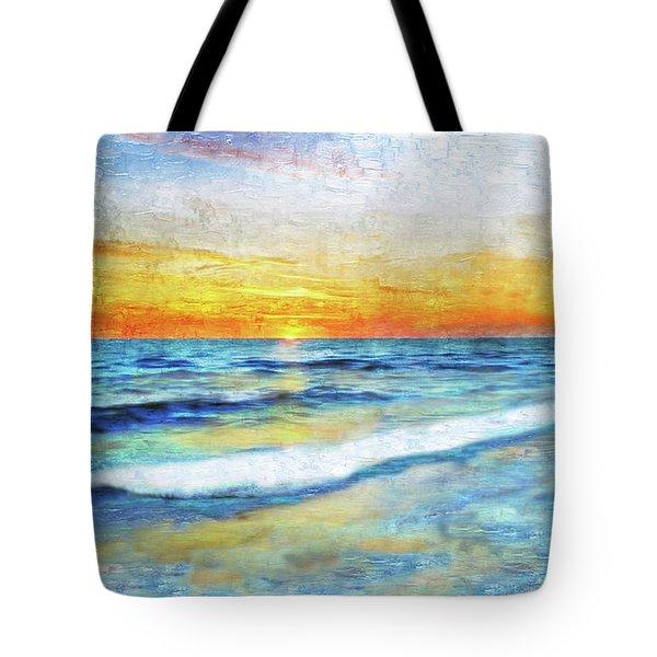 Seascape Sunrise Impressionist Digital Painting 31a Tote Bag