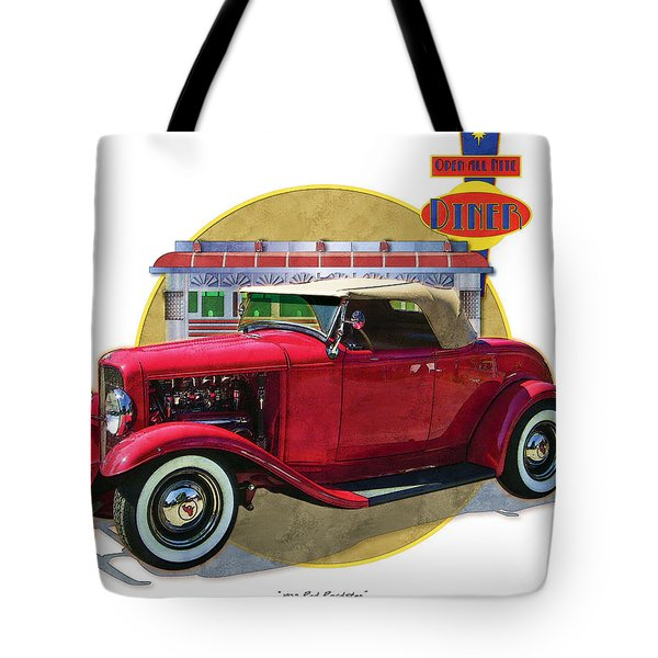 Tote Bag featuring the drawing 32 Red Roadster by Kenneth De Tore