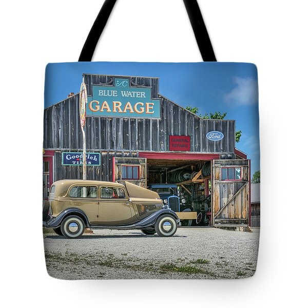 '34 Ford Sedan At Blue Water Garage Tote Bag