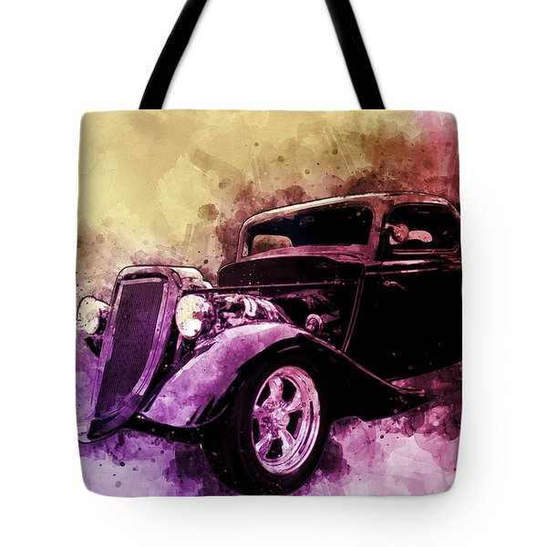 34 Ford Three Window Coupe Pen And Ink Watercolour Tote Bag