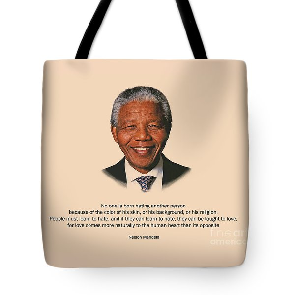 34- No One Is Born Hating Tote Bag by Joseph Keane