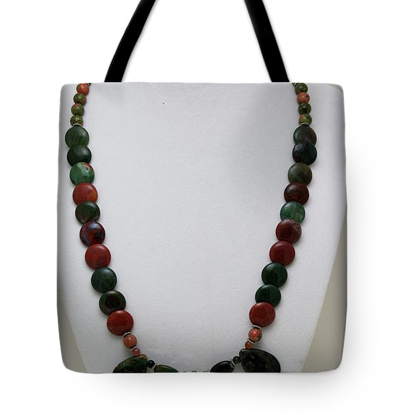 3505 Fancy Jasper And Unakite Necklace Tote Bag by Teresa Mucha