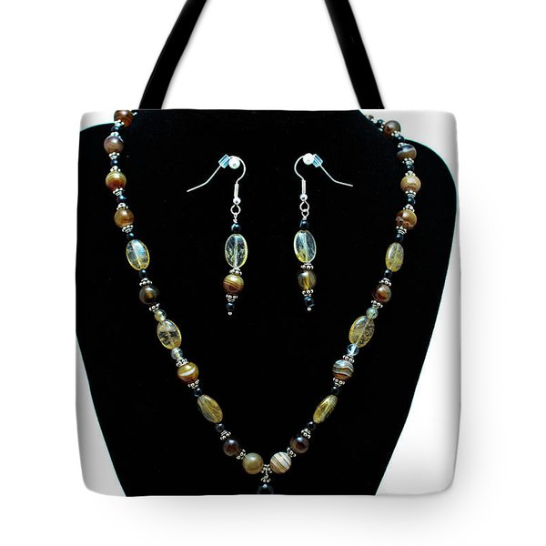 3509 Amber Striped Onyx Set Tote Bag by Teresa Mucha