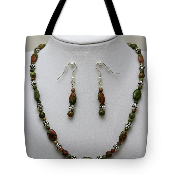 3525 Unakite Necklace And Earring Set Tote Bag by Teresa Mucha