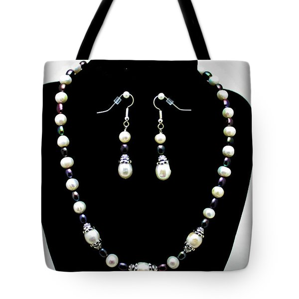 3531 Freshwater Pearl Necklace And Earring Set Tote Bag