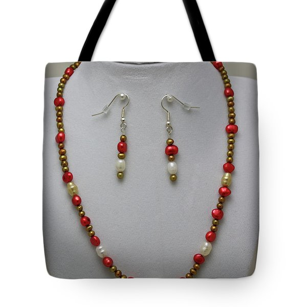 3539 Pearl Necklace And Earring Set Tote Bag