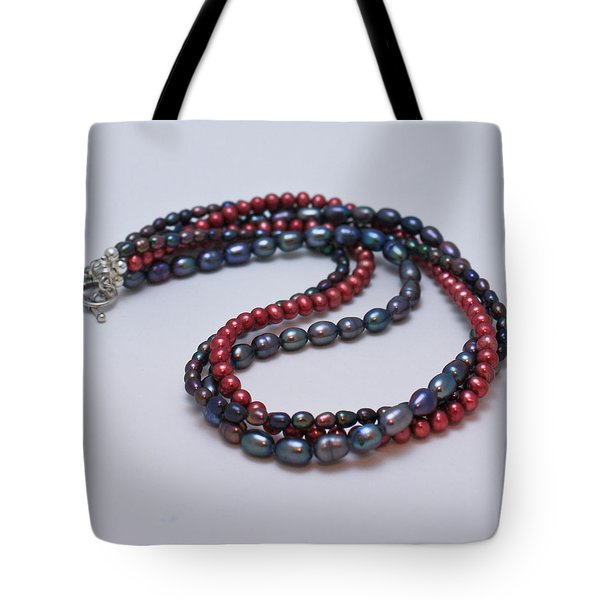 3540 Triple Strand Freshwater Pearl Necklace Tote Bag