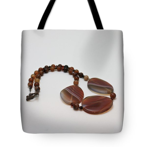 3543 Coffee Vein Agate Necklace Tote Bag by Teresa Mucha
