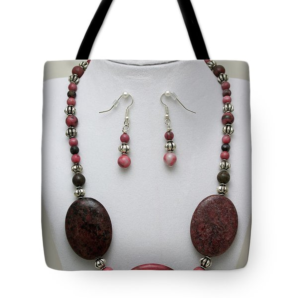 3544 Rhodonite Necklace Bracelet And Earring Set Tote Bag by Teresa Mucha