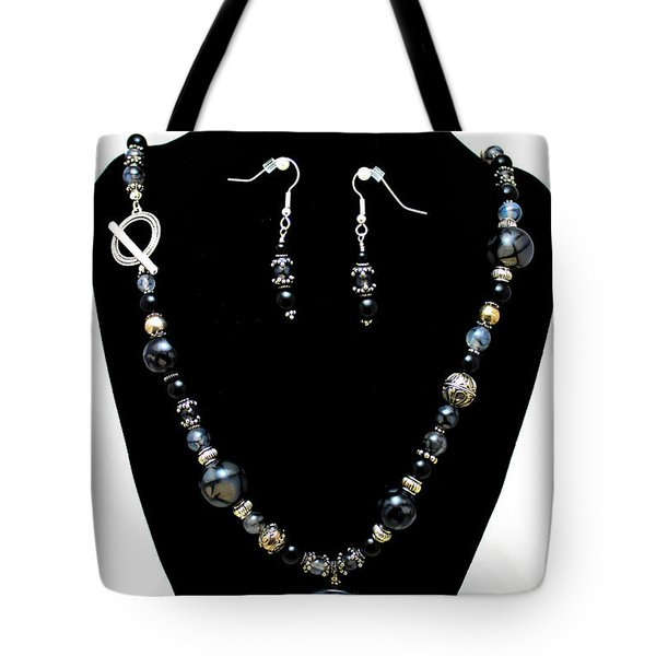 3545 Black Cracked Agate Necklace And Earring Set Tote Bag by Teresa Mucha