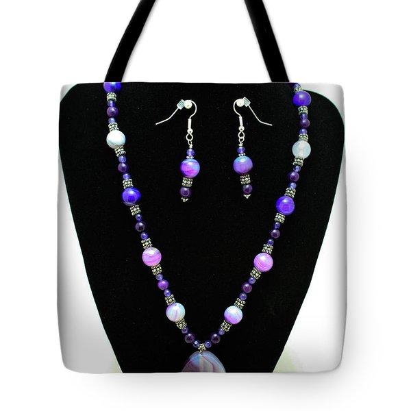 3547 Purple Veined Agate Set Tote Bag by Teresa Mucha