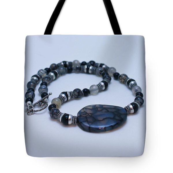 3552 Cracked Agate Necklace Tote Bag by Teresa Mucha