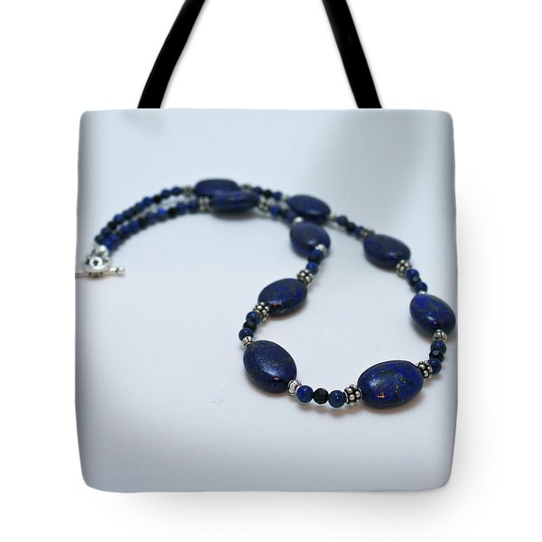 3553 Lapis Lazuli Necklace And Earrings Set Tote Bag by Teresa Mucha