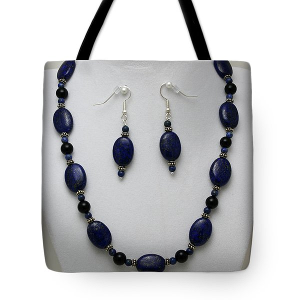 3555 Lapis Lazuli Necklace And Earring Set Tote Bag by Teresa Mucha