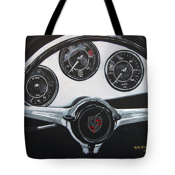 Tote Bag featuring the painting 356 Porsche Dash by Richard Le Page